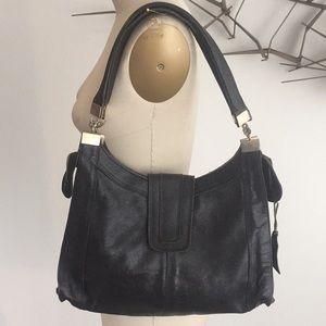 Vintage 1970's black leather shoulder bag